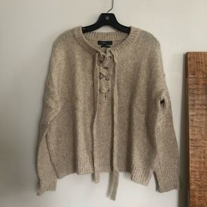 ZARA oatmeal knit with lace up detail
